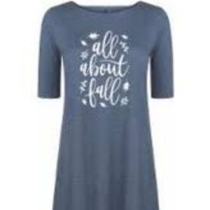 "NIB AirWaves ""All About Fall"" Dress T-shirt Gray S"